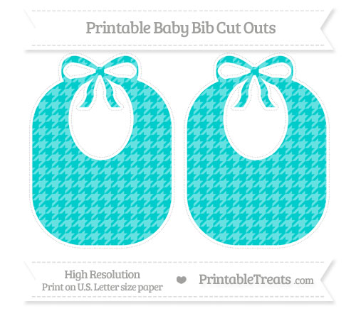 Free Robin Egg Blue Houndstooth Pattern Large Baby Bib Cut Outs