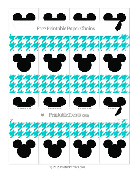 Free Robin Egg Blue Houndstooth Pattern Mickey Mouse Paper Chains