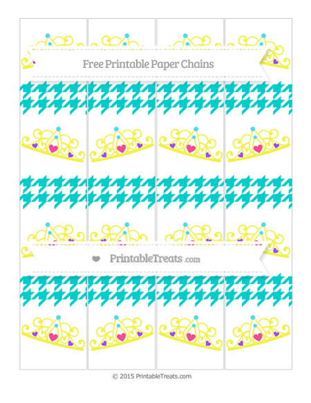 Free Robin Egg Blue Houndstooth Pattern Princess Tiara Paper Chains