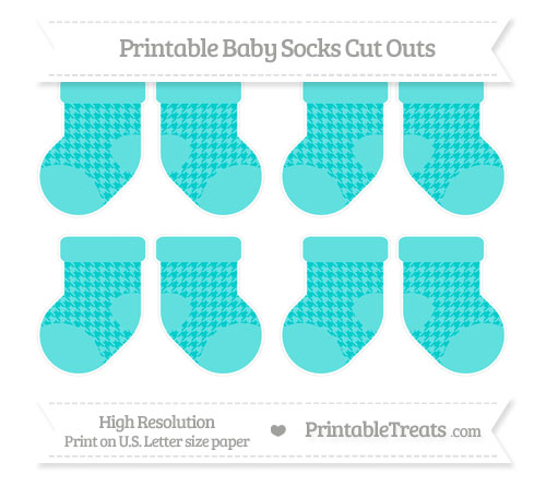 Free Robin Egg Blue Houndstooth Pattern Small Baby Socks Cut Outs