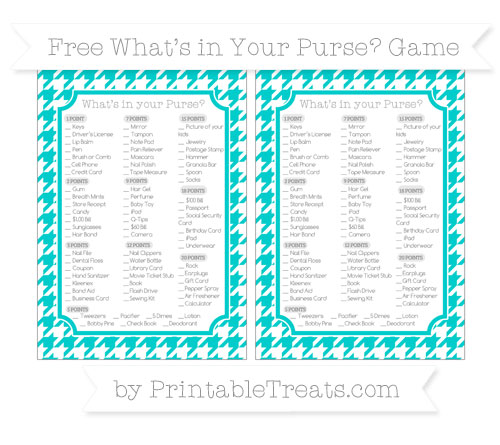 Free Robin Egg Blue Houndstooth Pattern What's in Your Purse Baby Shower Game