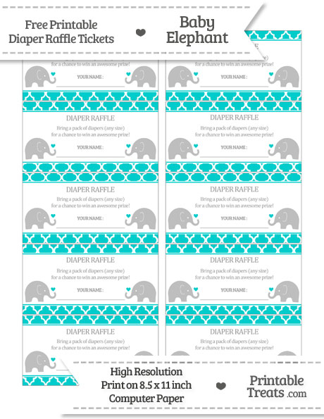 Free Robin Egg Blue Moroccan Tile Baby Elephant Diaper Raffle Tickets
