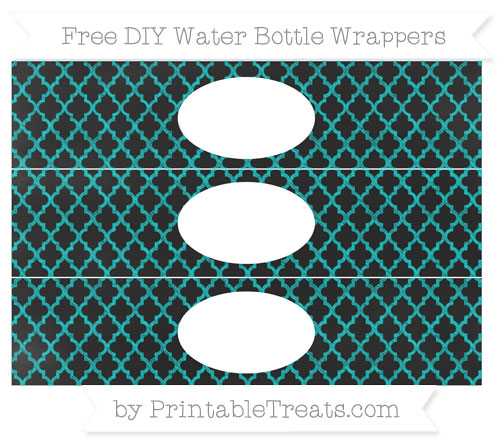 Free Robin Egg Blue Moroccan Tile Chalk Style DIY Water Bottle Wrappers