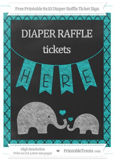 Free Robin Egg Blue Moroccan Tile Chalk Style Elephant 8x10 Diaper Raffle Ticket Sign