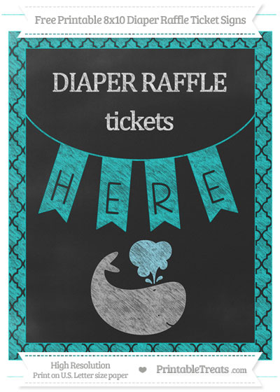 Free Robin Egg Blue Moroccan Tile Chalk Style Whale 8x10 Diaper Raffle Ticket Sign