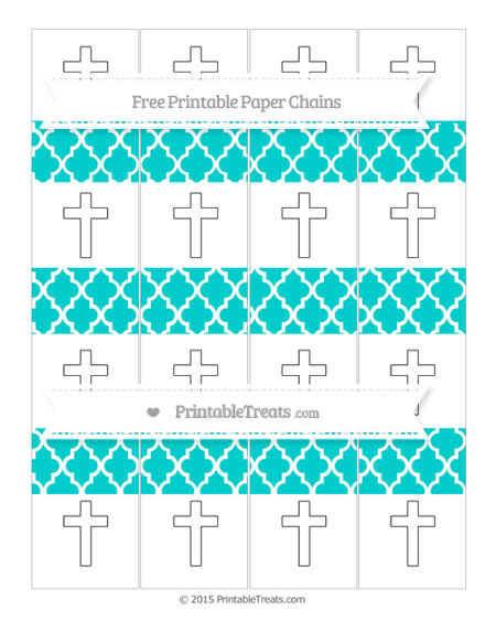 Free Robin Egg Blue Moroccan Tile Cross Paper Chains