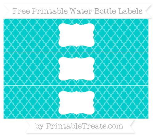 Free Robin Egg Blue Moroccan Tile Water Bottle Labels