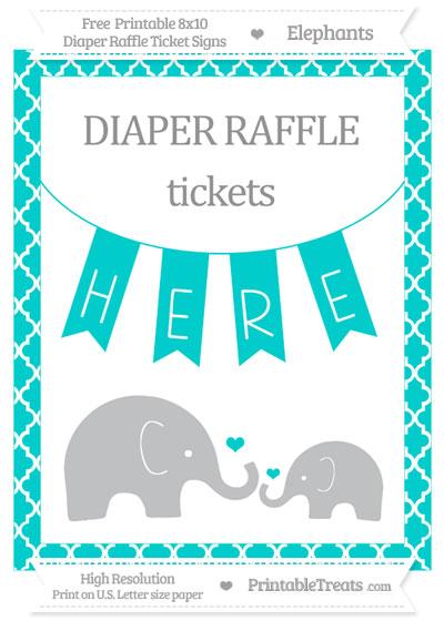 Free Robin Egg Blue Moroccan Tile Elephant 8x10 Diaper Raffle Ticket Sign