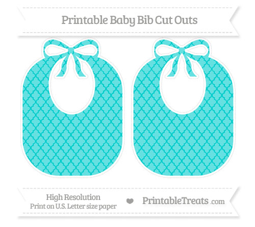 Free Robin Egg Blue Moroccan Tile Large Baby Bib Cut Outs