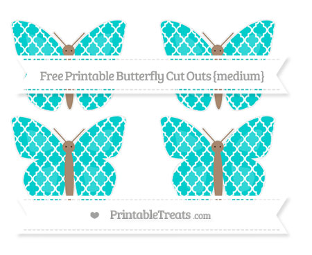 Free Robin Egg Blue Moroccan Tile Medium Butterfly Cut Outs