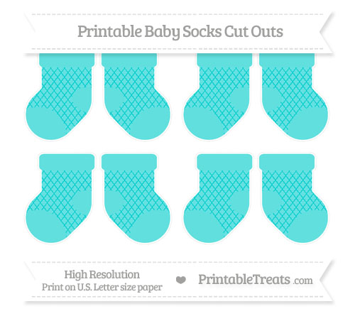 Free Robin Egg Blue Moroccan Tile Small Baby Socks Cut Outs