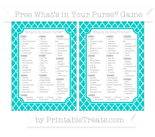 Free Robin Egg Blue Moroccan Tile What's in Your Purse Baby Shower Game