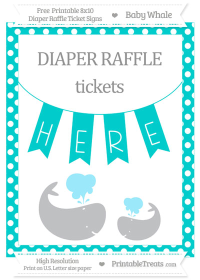Free Robin Egg Blue Polka Dot Baby Whale 8x10 Diaper Raffle Ticket Sign
