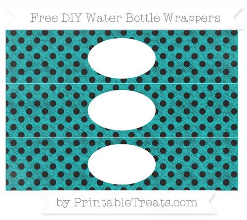 Free Robin Egg Blue Polka Dot Chalk Style DIY Water Bottle Wrappers
