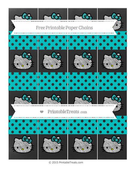 Free Robin Egg Blue Polka Dot Chalk Style Hello Kitty Paper Chains