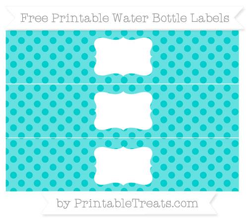 Free Robin Egg Blue Polka Dot Water Bottle Labels