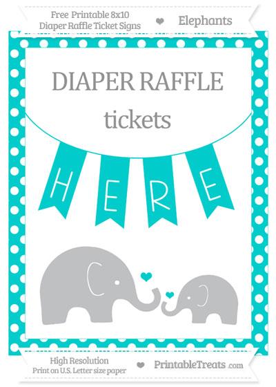 Free Robin Egg Blue Polka Dot Elephant 8x10 Diaper Raffle Ticket Sign