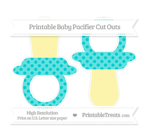 Free Robin Egg Blue Polka Dot Large Baby Pacifier Cut Outs