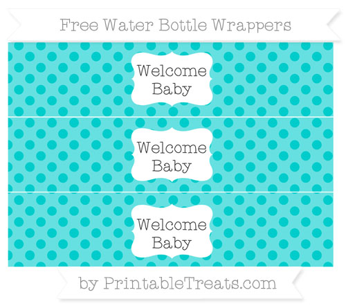 Free Robin Egg Blue Polka Dot Welcome Baby Water Bottle Wrappers