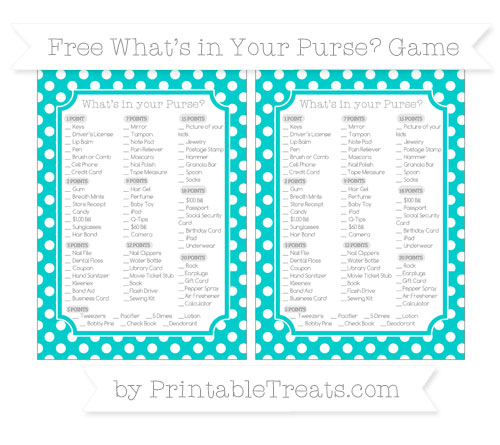 Free Robin Egg Blue Polka Dot What's in Your Purse Baby Shower Game