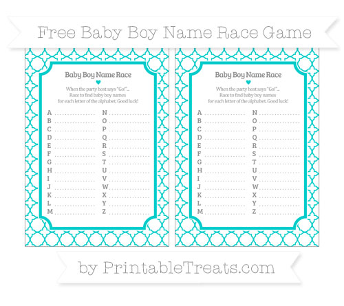 Free Robin Egg Blue Quatrefoil Pattern Baby Boy Name Race Game