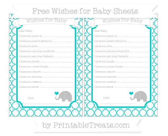 Free Robin Egg Blue Quatrefoil Pattern Baby Elephant Wishes for Baby Sheets