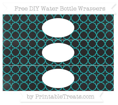 Free Robin Egg Blue Quatrefoil Pattern Chalk Style DIY Water Bottle Wrappers