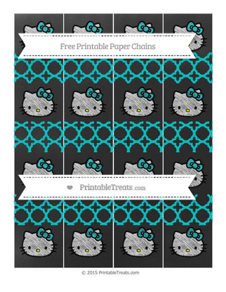 Free Robin Egg Blue Quatrefoil Pattern Chalk Style Hello Kitty Paper Chains