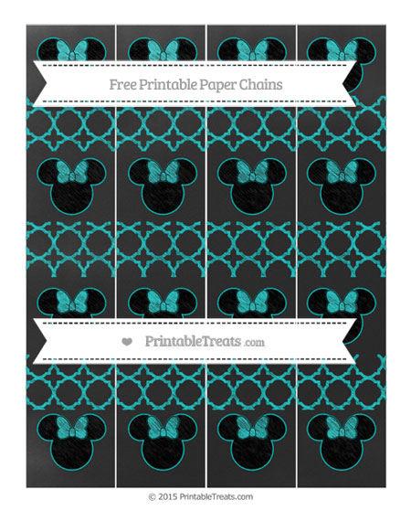 Free Robin Egg Blue Quatrefoil Pattern Chalk Style Minnie Mouse Paper Chains
