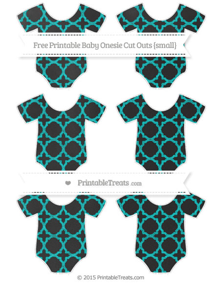 Free Robin Egg Blue Quatrefoil Pattern Chalk Style Small Baby Onesie Cut Outs
