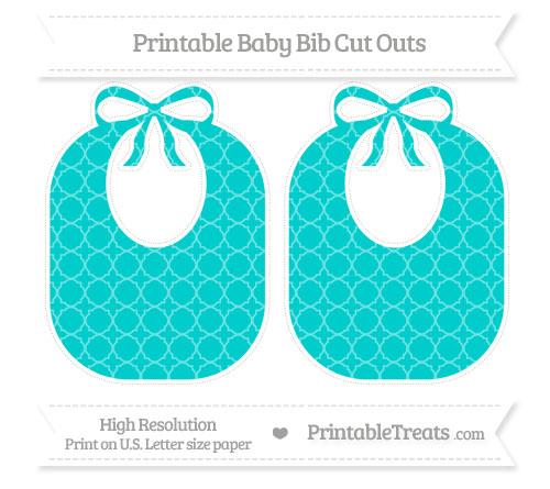 Free Robin Egg Blue Quatrefoil Pattern Large Baby Bib Cut Outs