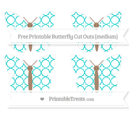 Free Robin Egg Blue Quatrefoil Pattern Medium Butterfly Cut Outs