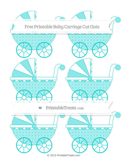 Free Robin Egg Blue Quatrefoil Pattern Small Baby Carriage Cut Outs