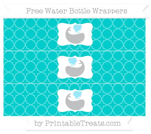 Free Robin Egg Blue Quatrefoil Pattern Whale Water Bottle Wrappers