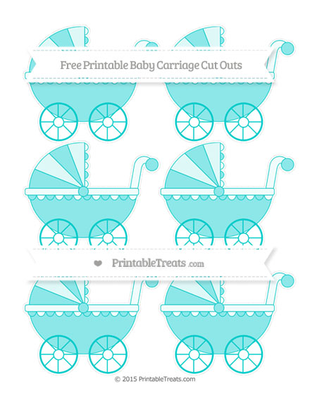 Free Robin Egg Blue Small Baby Carriage Cut Outs