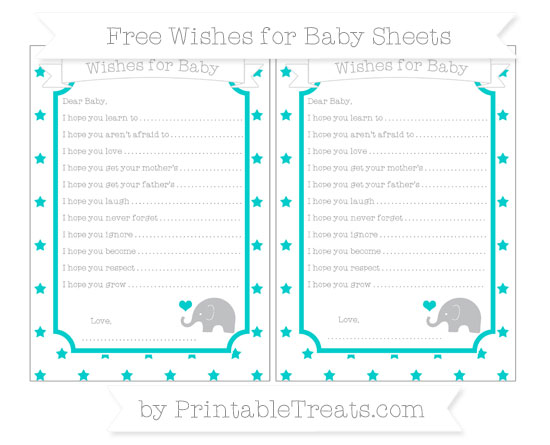Free Robin Egg Blue Star Pattern Baby Elephant Wishes for Baby Sheets