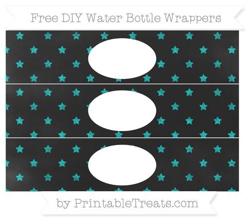 Free Robin Egg Blue Star Pattern Chalk Style DIY Water Bottle Wrappers