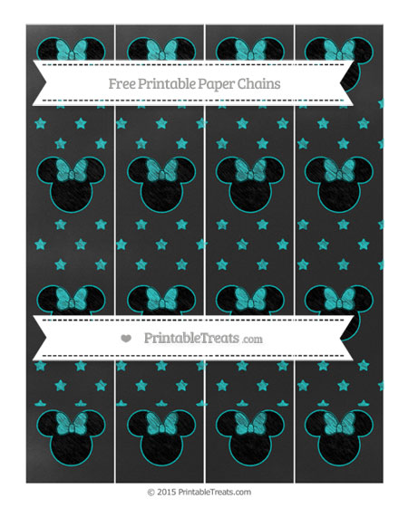 Free Robin Egg Blue Star Pattern Chalk Style Minnie Mouse Paper Chains