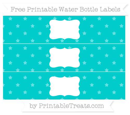 Free Robin Egg Blue Star Pattern Water Bottle Labels