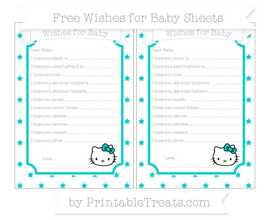 Free Robin Egg Blue Star Pattern Hello Kitty Wishes for Baby Sheets