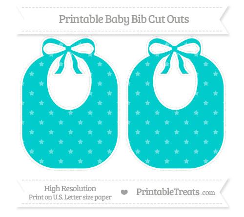 Free Robin Egg Blue Star Pattern Large Baby Bib Cut Outs
