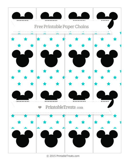 Free Robin Egg Blue Star Pattern Mickey Mouse Paper Chains