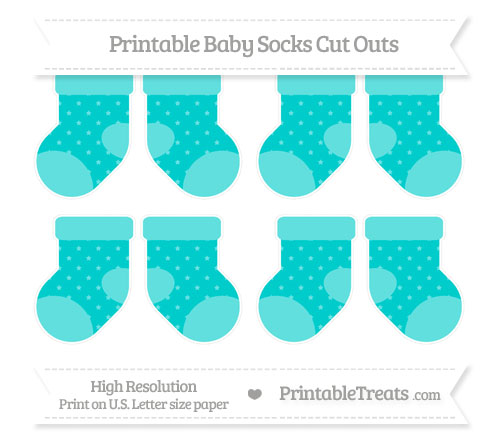 Free Robin Egg Blue Star Pattern Small Baby Socks Cut Outs