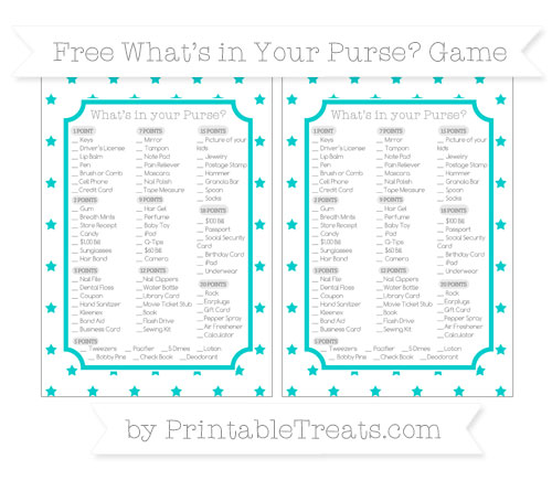 Free Robin Egg Blue Star Pattern What's in Your Purse Baby Shower Game
