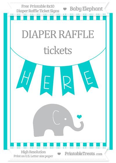 Free Robin Egg Blue Striped Baby Elephant 8x10 Diaper Raffle Ticket Sign