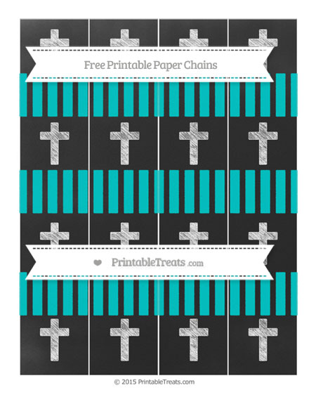 Free Robin Egg Blue Striped Chalk Style Cross Paper Chains