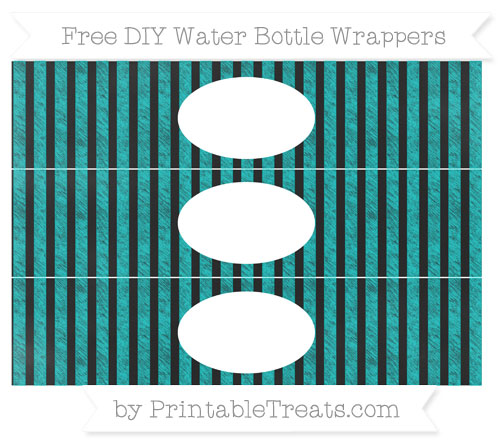 Free Robin Egg Blue Striped Chalk Style DIY Water Bottle Wrappers