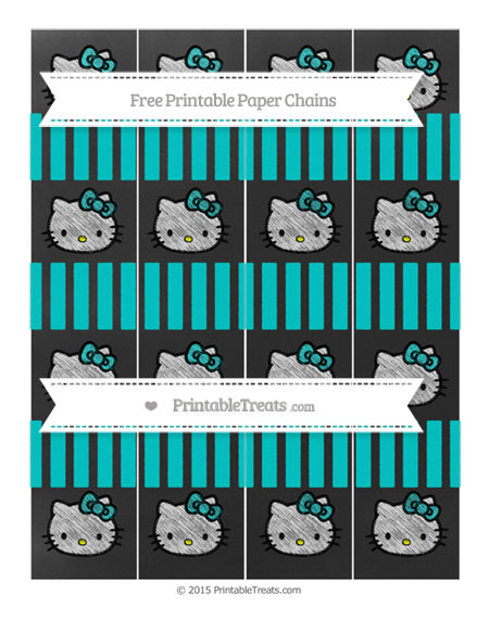 Free Robin Egg Blue Striped Chalk Style Hello Kitty Paper Chains