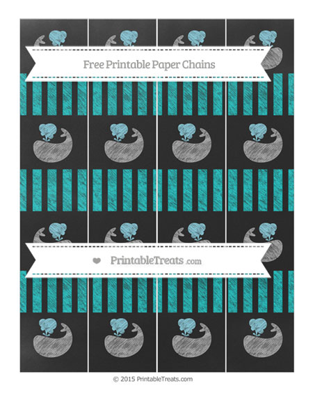 Free Robin Egg Blue Striped Chalk Style Whale Paper Chains