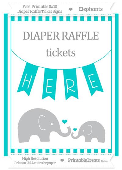 Free Robin Egg Blue Striped Elephant 8x10 Diaper Raffle Ticket Sign